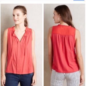 Anthropologie Red Sleeveless Blouse Medium Ruffle